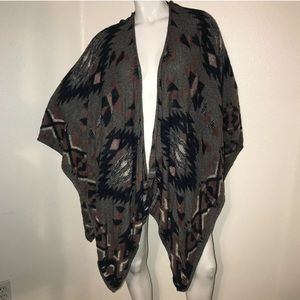 Lucky Brand Tribal Print Open Women's OS Poncho